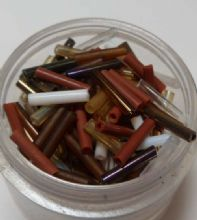 Bugle beads. Brown/Gold/White x 500